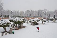 Tormenta inusual de la nieve en Madrid, España Imagenes de archivo