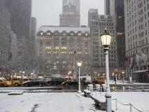 Tormenta New York City Manhattan de la nieve Fotografía de archivo