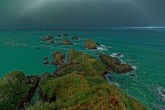 Tormenta, punto de la pepita, Nueva Zelanda Imágenes de archivo libres de regalías