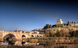 The tormes and the castle. A view of the castle of ciudad rodrigo from the other side of the tormes river Royalty Free Stock Photography