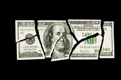 Torn 100 dollar bill Royalty Free Stock Image