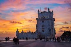 Torn av Belem (Torre de Belem) på solnedgången Arkivbilder