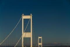 Torn av den äldre Severn Crossing, connectin för upphängningbro Arkivbilder