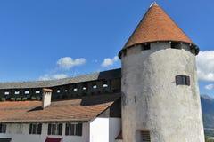 Torn av den blödde slotten, Slovenien Royaltyfria Bilder