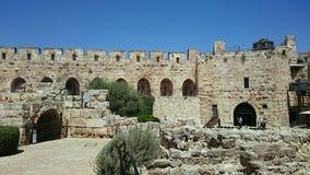 Torn av den David eller Jerusalem citadellen arkivbilder