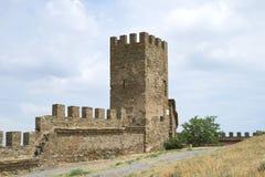 Torn av den Genoese fästningen i Sudak crimea arkivbild