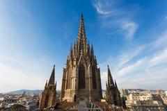 Torn av den gotiska kyrkan, Barcelona Royaltyfria Foton