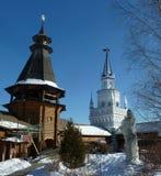 Torn av den Izmaylovo Kreml i Moskva, Ryssland, vinter arkivbild