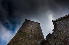 Torn av den Schaumburg slotten i Tyskland Arkivbild