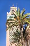 Torn av en moské i Marrakesh, Marocko Arkivfoto