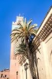 Torn av en moské i Marrakesh, Marocko Arkivbilder