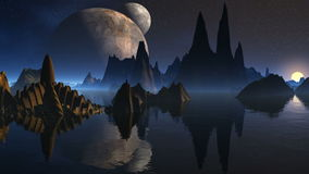 Torn av främlingar och måne tre vektor illustrationer