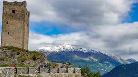 Torn av Fraele, Touristic dragning i Valtellina Royaltyfria Bilder