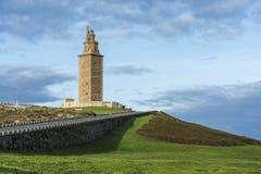 Torn av Hercules i en Coruna, Galicia, Spanien. Royaltyfria Bilder