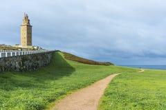 Torn av Hercules i en Coruna, Galicia, Spanien Fotografering för Bildbyråer