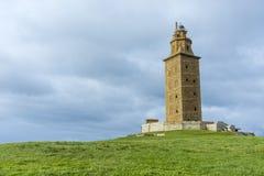 Torn av Hercules i en Coruna, Galicia, Spanien Royaltyfri Fotografi