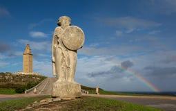 Torn av Hercules och statyn till Breoghan Royaltyfri Bild