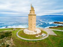 Torn av Hercules Torre i en Coruna Arkivbilder