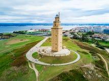 Torn av Hercules Torre i en Coruna Arkivbild