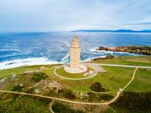 Torn av Hercules Torre i en Coruna Royaltyfri Fotografi