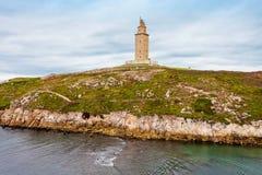 Torn av Hercules Torre i en Coruna Royaltyfri Foto