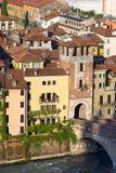 Torn av Ponten Pietra - Verona Italy Arkivfoto