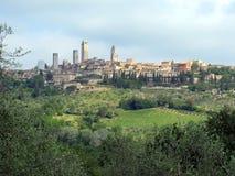 Torn av San Gimignano, Tuscany, horisontalItalien - arkivfoton