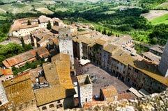 Torn av San Gimingano Tuscany Arkivfoto