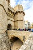 Torn av Serranos (var Pere Balaguer i Valencia spain Royaltyfri Fotografi