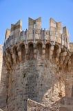 Torn av slotten för storslagen förlage för riddare. Rhodes. Royaltyfri Foto