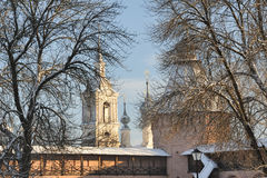 Torn bak träd täckte den insnöade Suzdal kloster Royaltyfri Fotografi