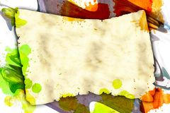 Torn banner on dirty watercolor background Stock Image