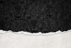 Torn black damask paper Royalty Free Stock Photo