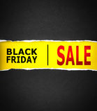 Torn black Paper and space for black friday sale text with yello Stock Photo