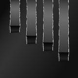 Torn Black Wrapped Curved Paper Gray Copy Space Stock Image
