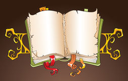 Torn book. Opened torn book with decorative ornament, copy-space background, cartoon vector illustration Royalty Free Stock Photo