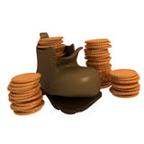 Torn boot with coins Stock Photo