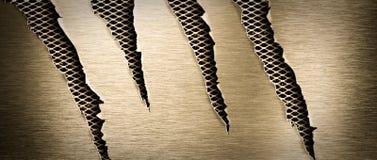 Torn brass metal texture stock photo