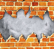 Torn brick wall. Cement and  brick Stock Photography