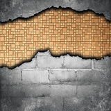 Torn bricks wall Stock Photo