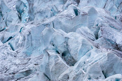 Detail of glacier with holes and crevasses in the Andes Royalty Free Stock Photography