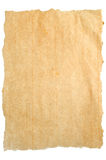 Torn brown paper. Torn aged paper isolated on white background, ready for your message royalty free stock photo