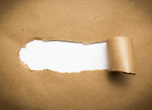 Torn brown paper with blank space. Royalty Free Stock Image