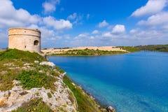Torn Cala Teulera för Menorca LaMola watchtower i Mahon Arkivbilder