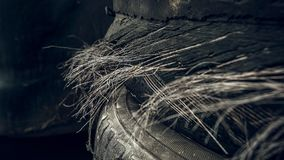Damaged steel cord tires royalty free stock photos