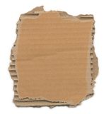 Torn Cardboard. Piece of corrugated cardboard with torn edges. Isolated on white. Clipping path included stock images