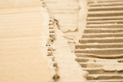 Torn cardboard in shallow focus. Simulated as ground royalty free stock image