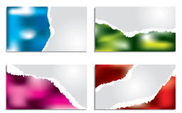 Torn color business card set Stock Photos