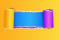 Torn color wrapped paper with space vector Stock Photography