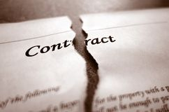 Torn contract closeup. Closeup of torn legal contract royalty free stock images
